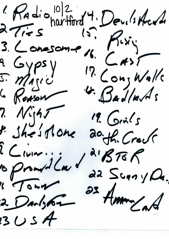 10/2 Springsteen Setlist