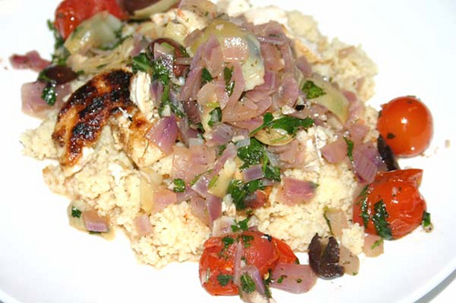 Mediterranean Chicken with Saffron Couscous